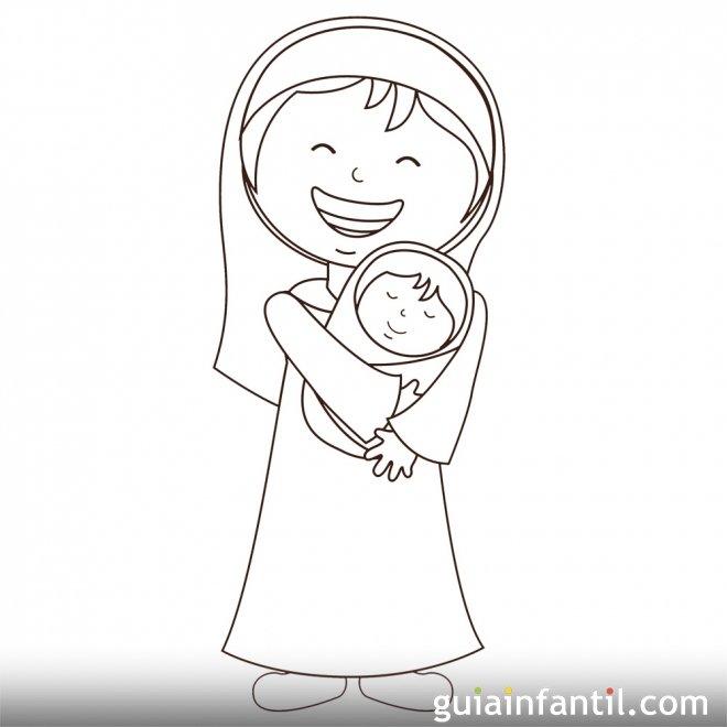 Dibujo navideño de la Virgen María y el Niño Jesús