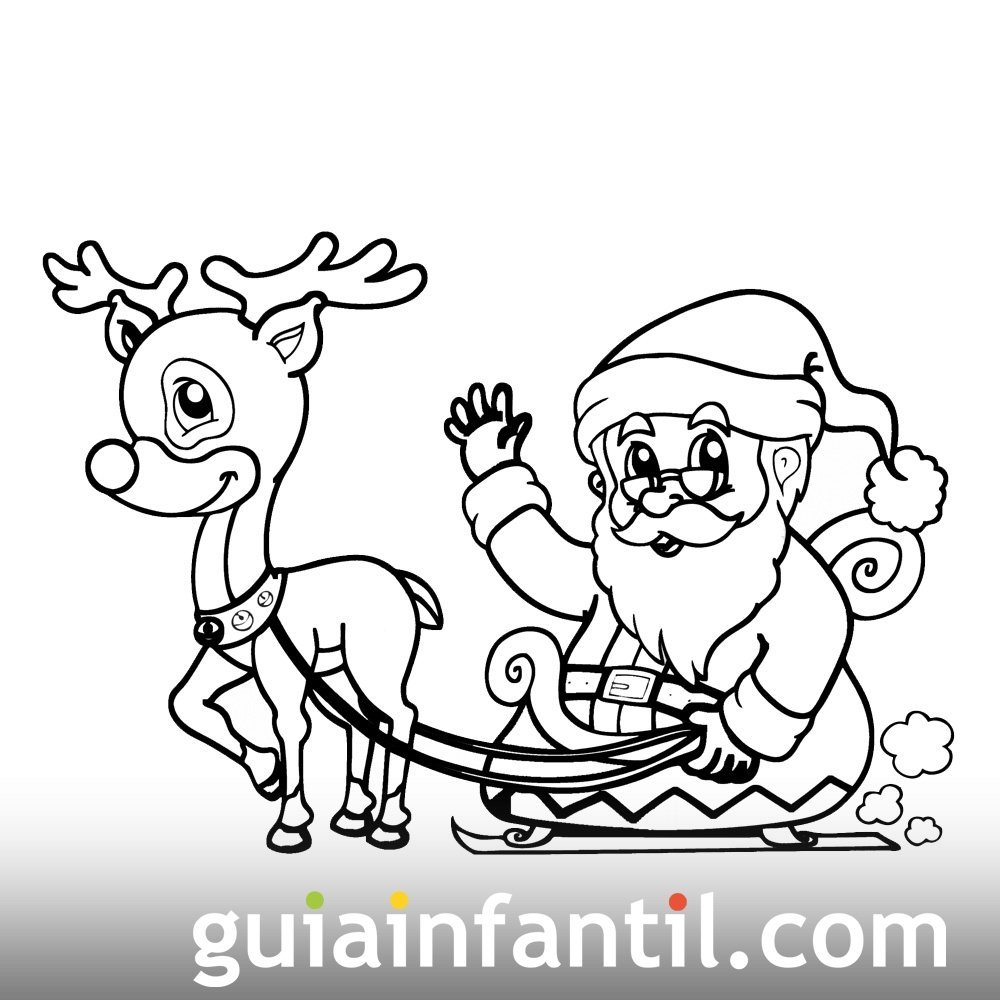 El trineo de Papá Noel. Dibujos para colorear