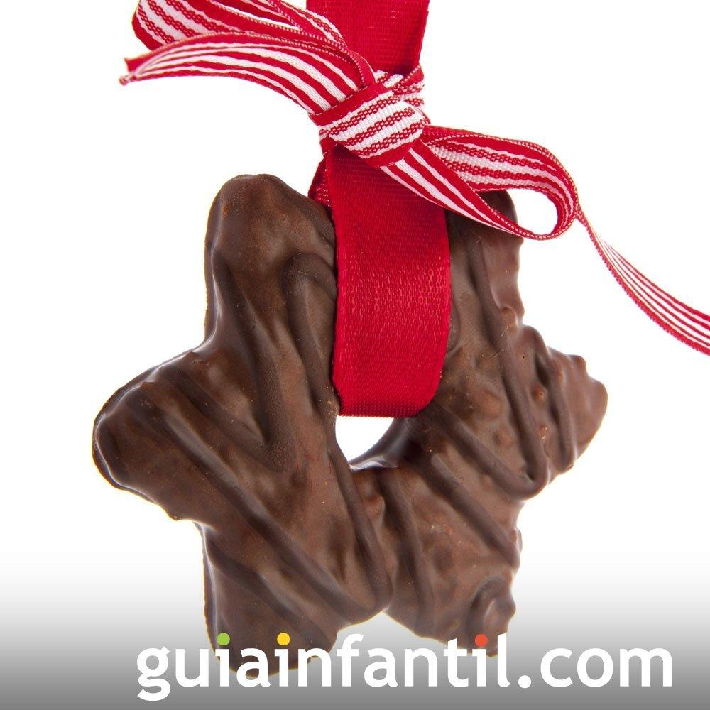 Estrella de chocolate. Galletas navideñas decoradas