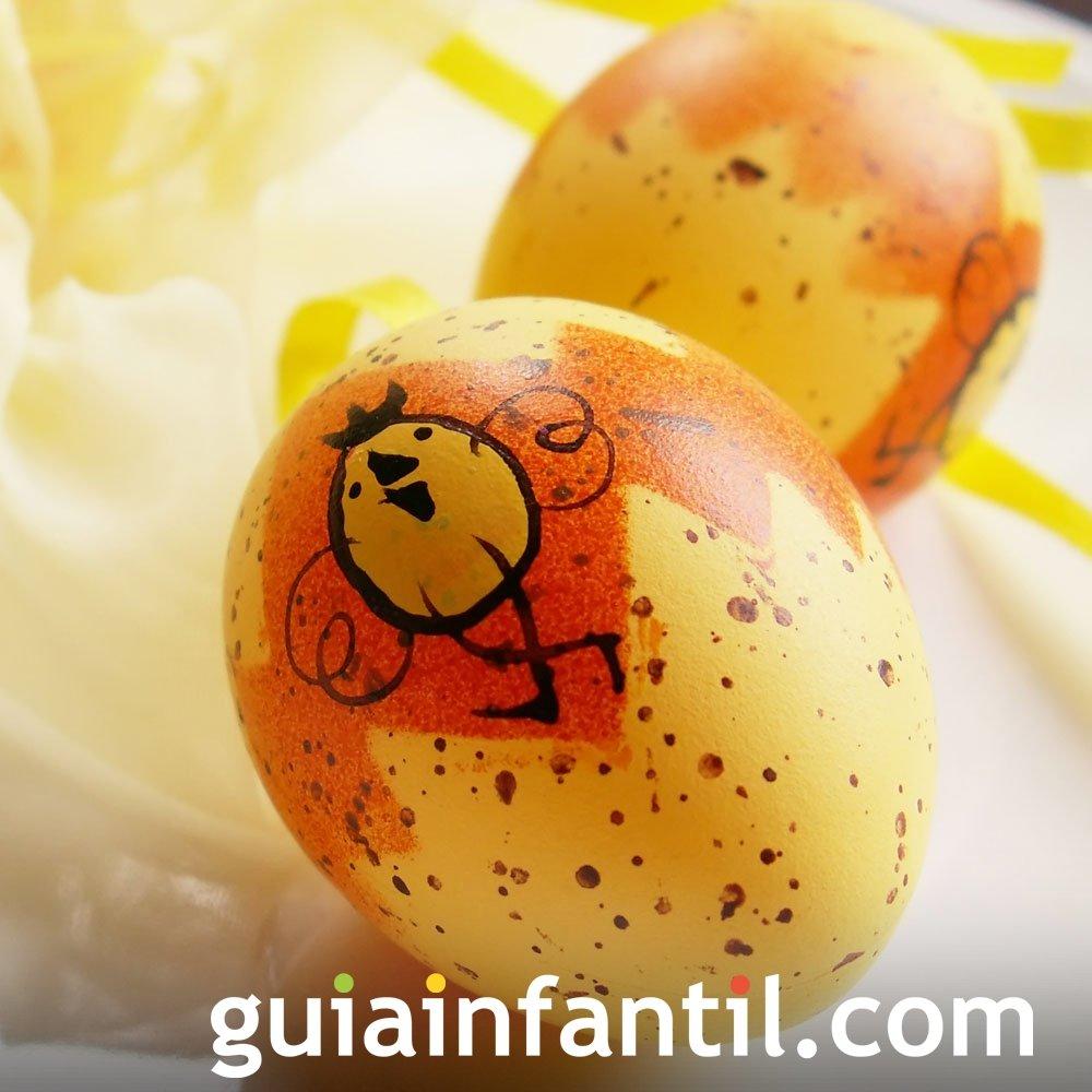 Decoración de huevos de Pascua: pollito