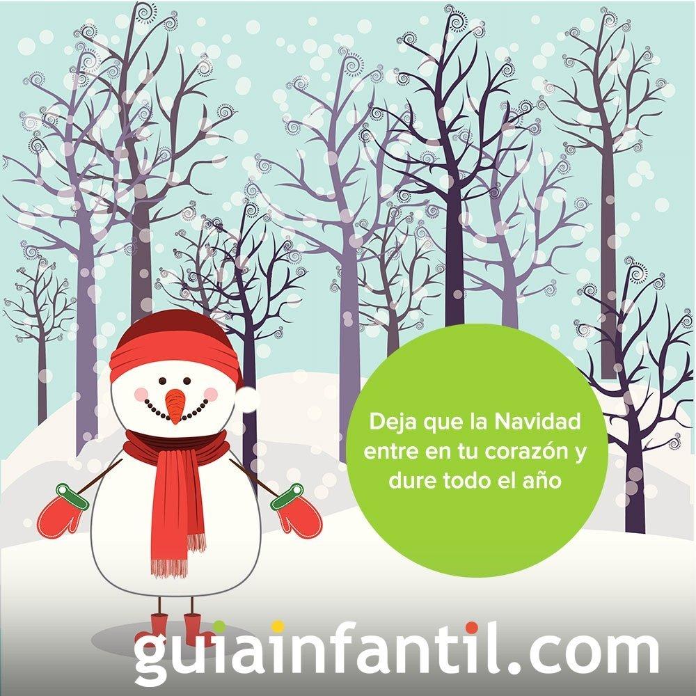 Tarjeta navideña con un dibujo de muñeco de nieve