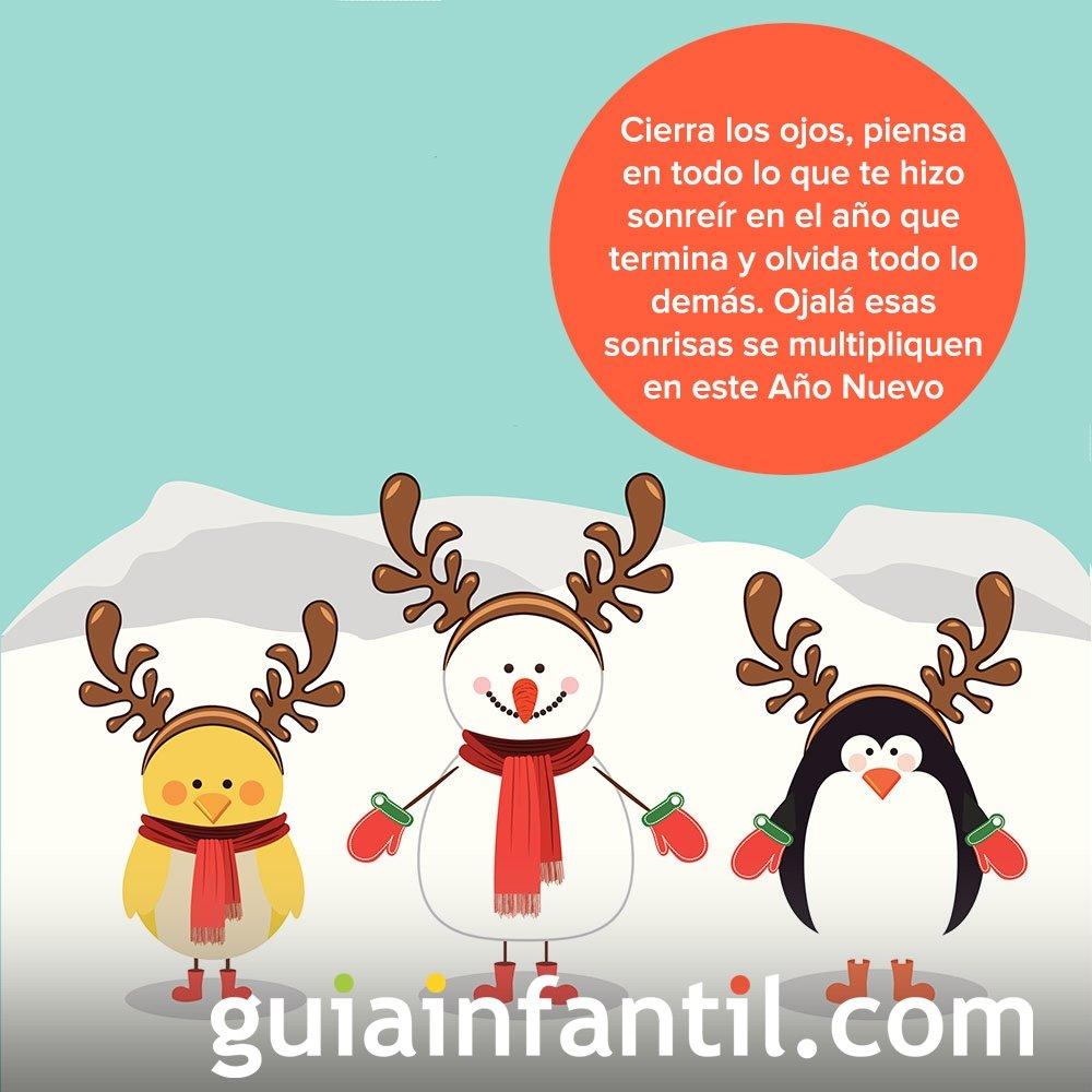 Un pingüino, un muñeco de nieve y un pollito como tarjeta navideña
