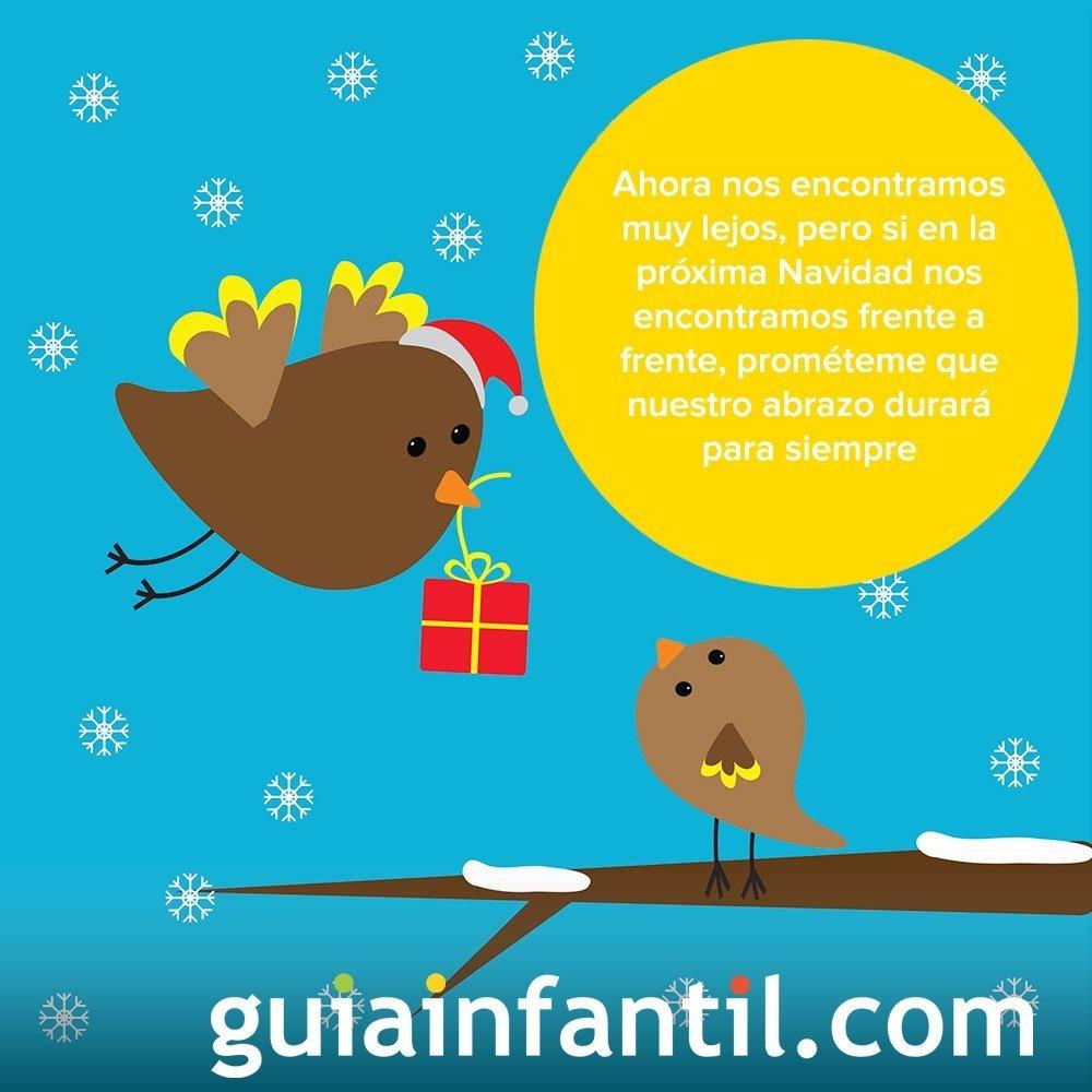 Felicitación navideña con el dibujo de unos pájaros