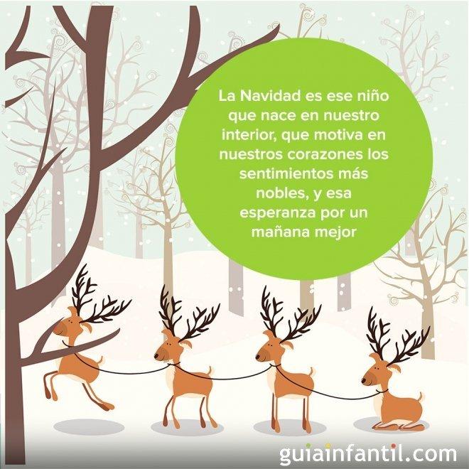 Postal navideña con un dibujo de renos