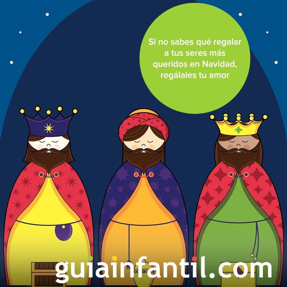 Los tres Reyes Magos en una tarjeta de Navidad