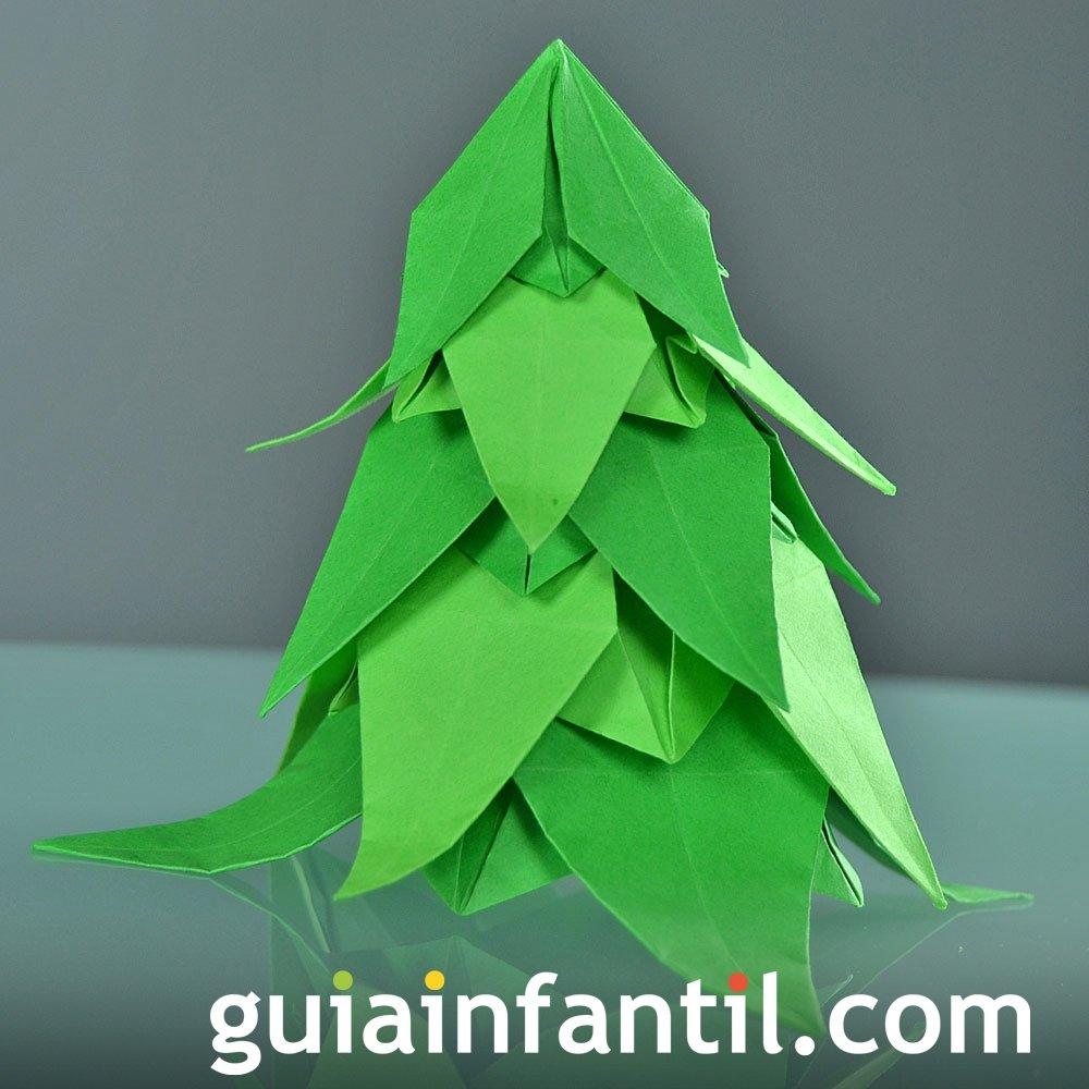 Un arbolito navideño de origami