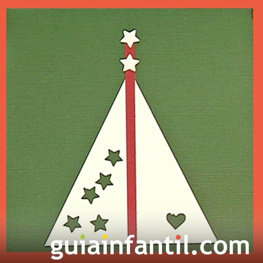 Una postal navideña de un árbol con estrellas