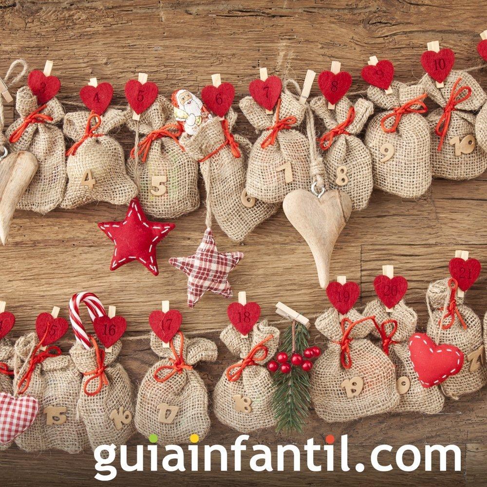 Calendario navideño con sacos rústicos