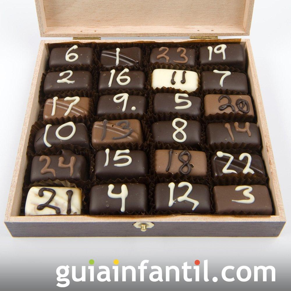 Calendario navideño con bombones de chocolate