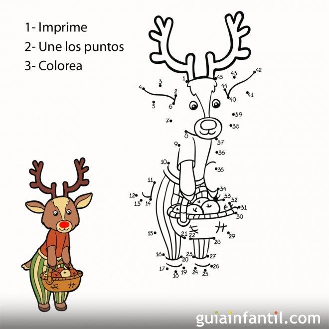Dibujo de reno con cesta de frutas para completar  6 dibujos