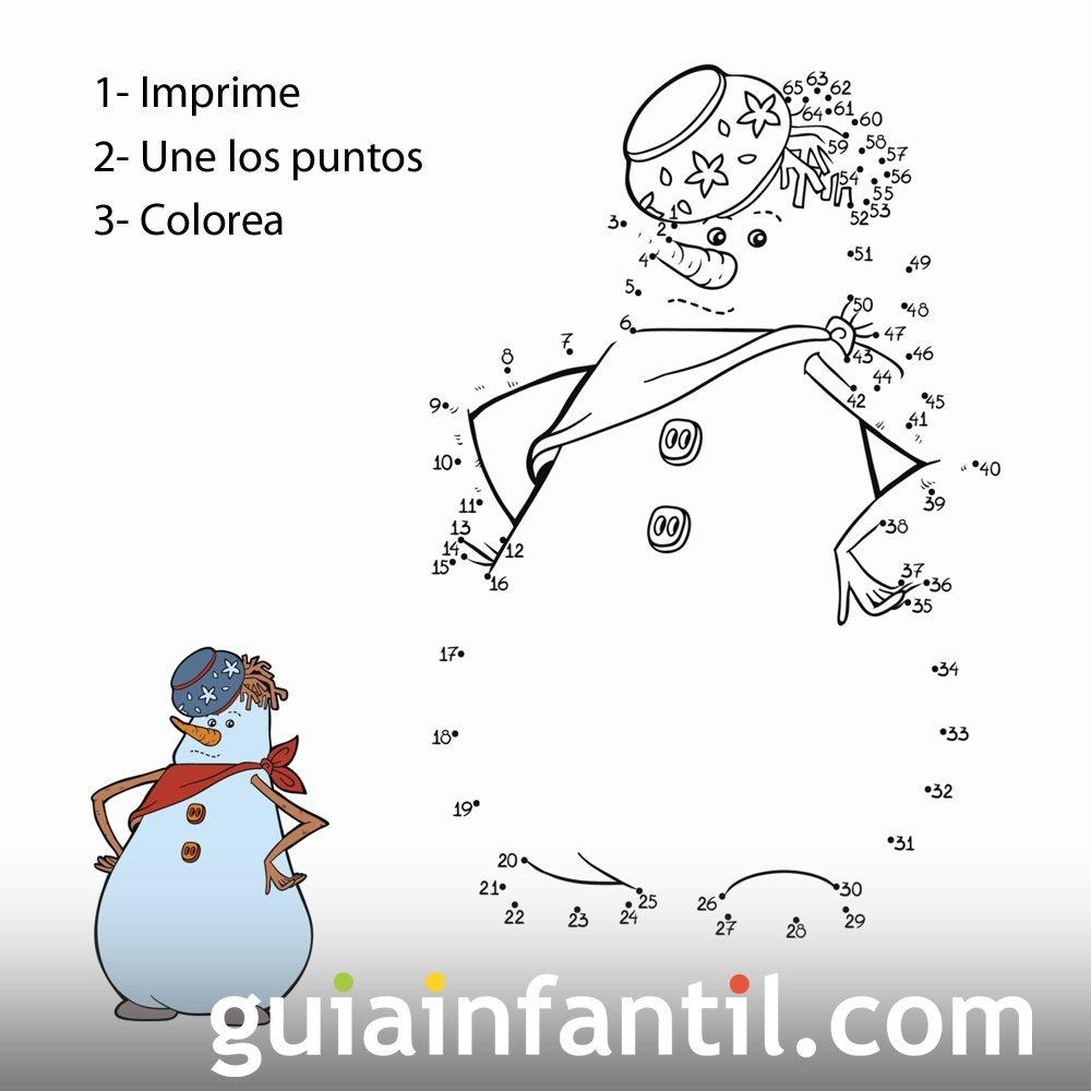 Dibujo de muñeco de nieve para unir los puntos