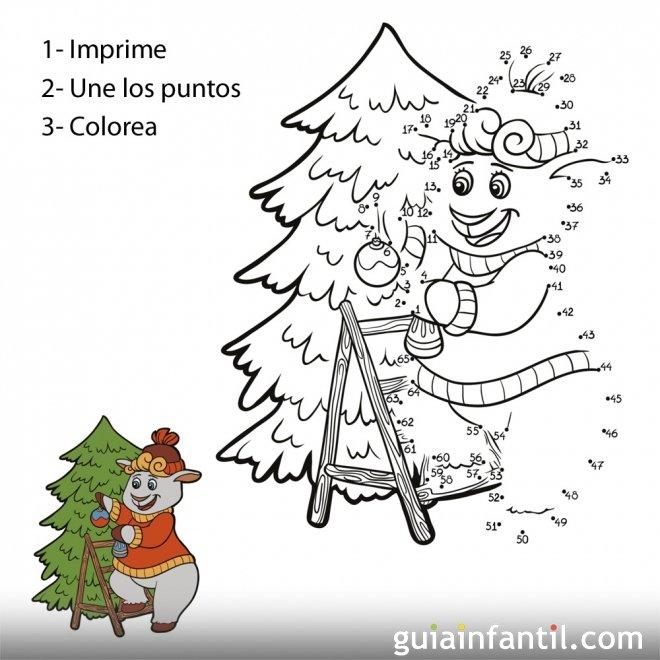 dibujo de oveja en rbol de navidad para unir numeros