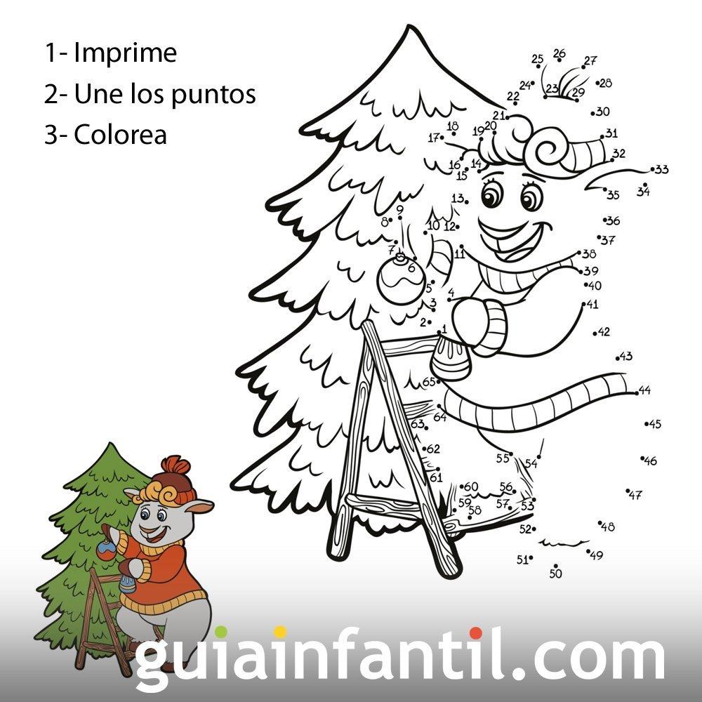 Dibujo de oveja en árbol de Navidad para unir numeros