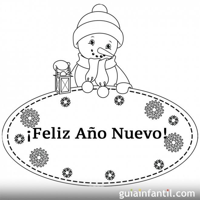 Dibujo de muñeco de nieve para felicitar el año nuevo