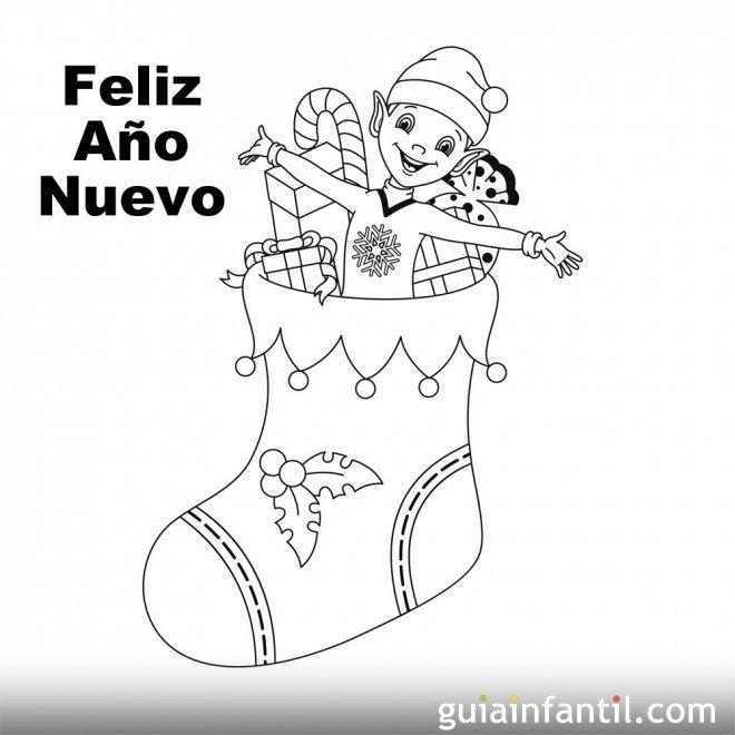 Dibujo de bota con regalos para recibir el nuevo año ...