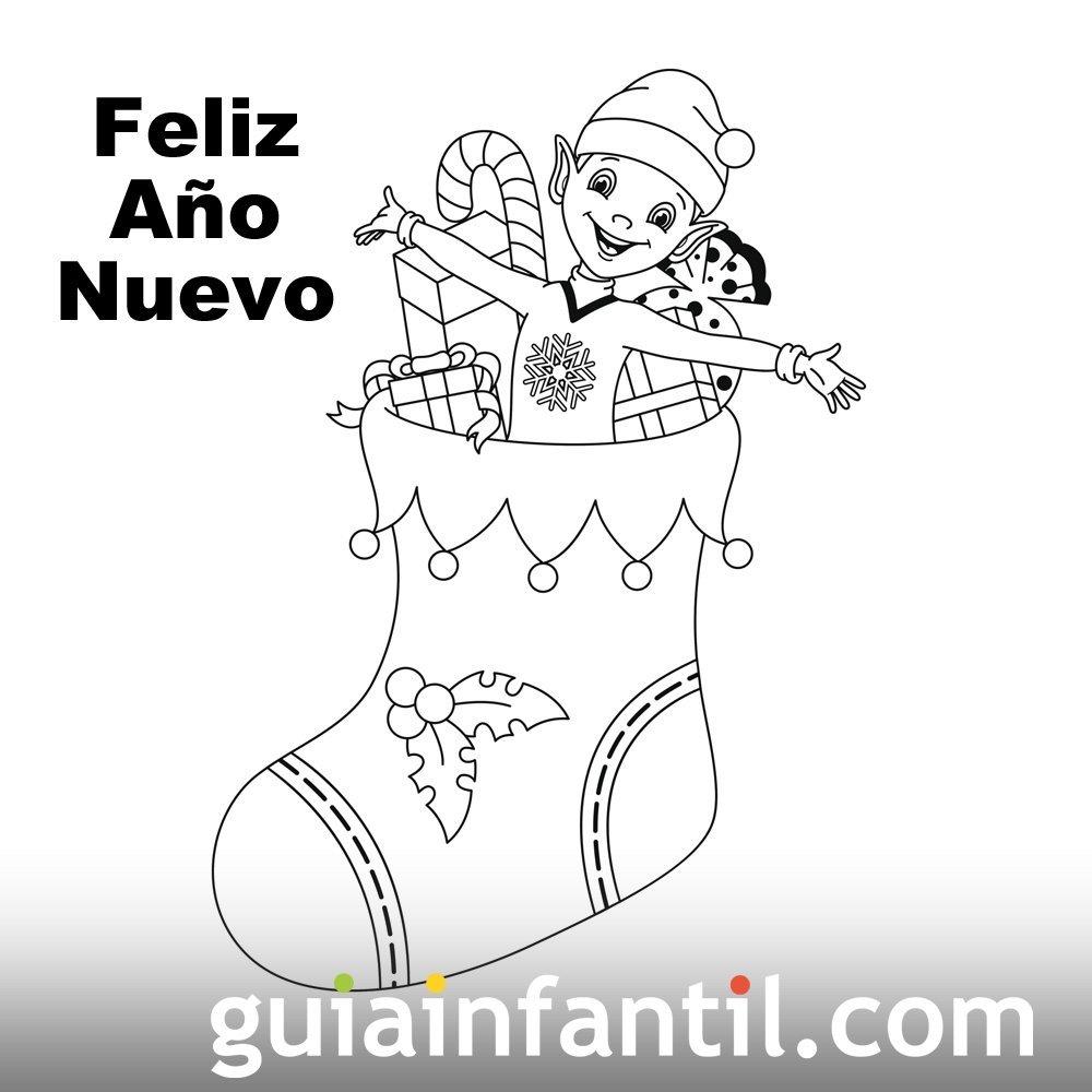 Dibujo de bota con regalos para recibir el nuevo año