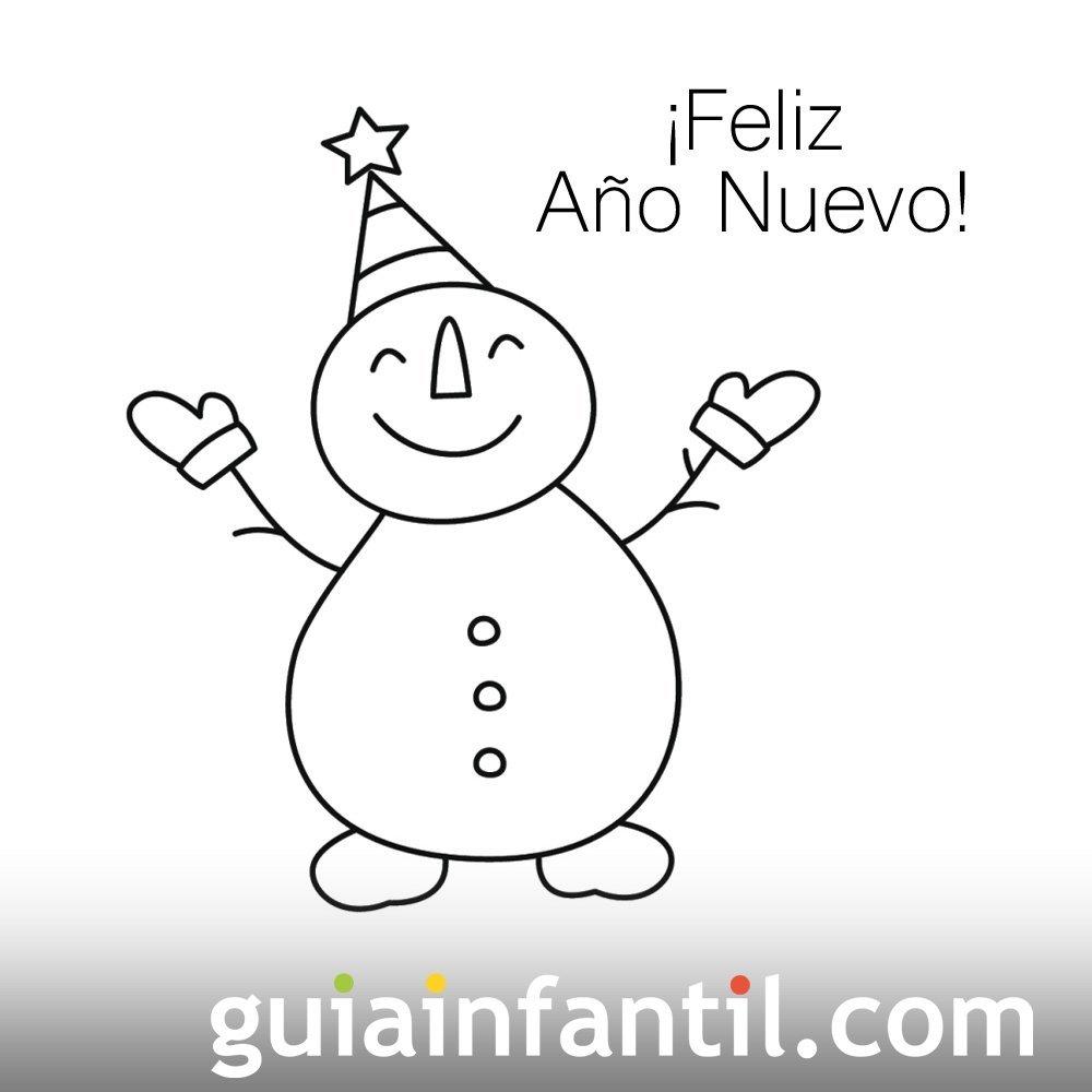 Dibujo de muñeco de nieve para recibir el año nuevo