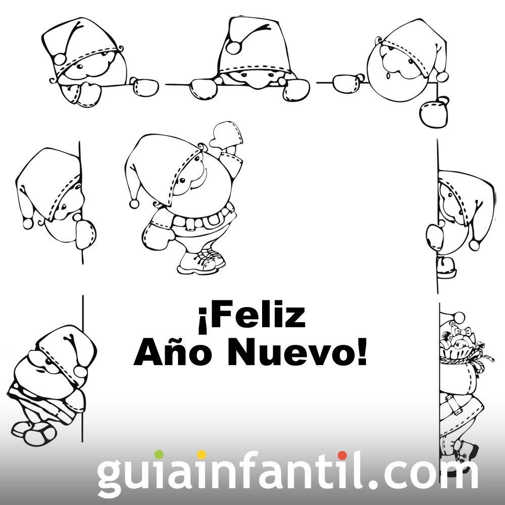 Dibujo de duendes esperando el año nuevo