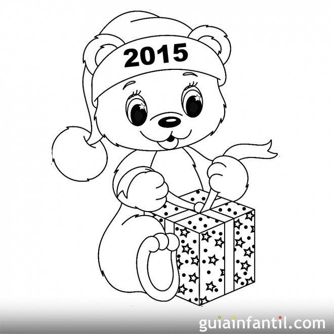 Dibujo de oso con regalo para el nuevo ao  10 postales de Ao