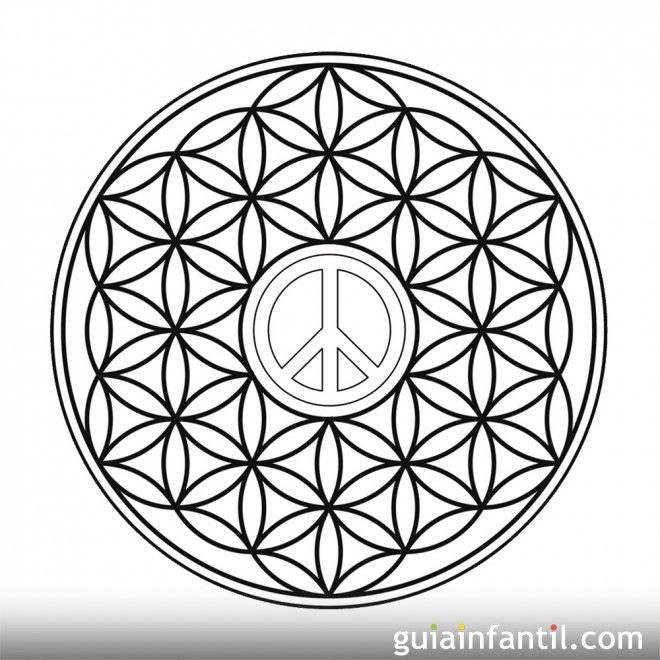 Dibujo del símbolo de la paz en formas geométricas