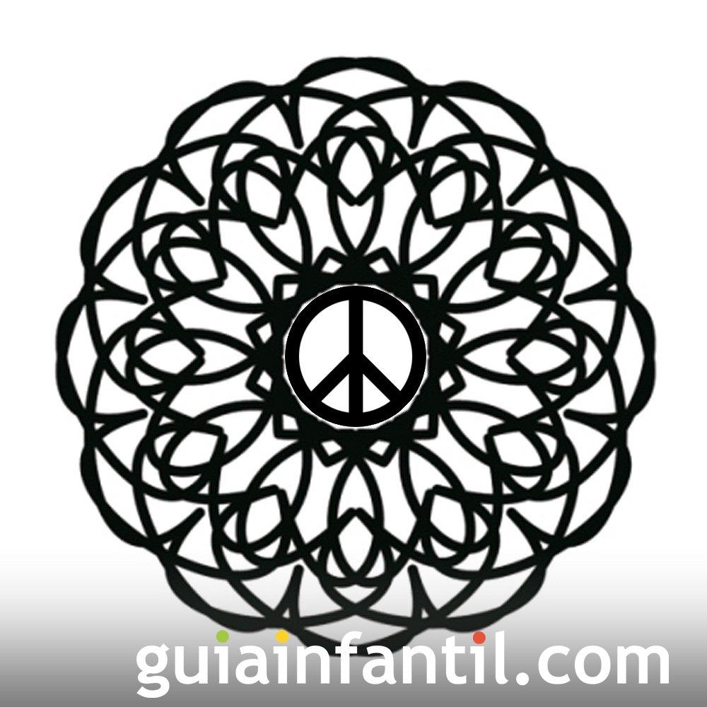 Dibujo de mandala con símbolo de la paz