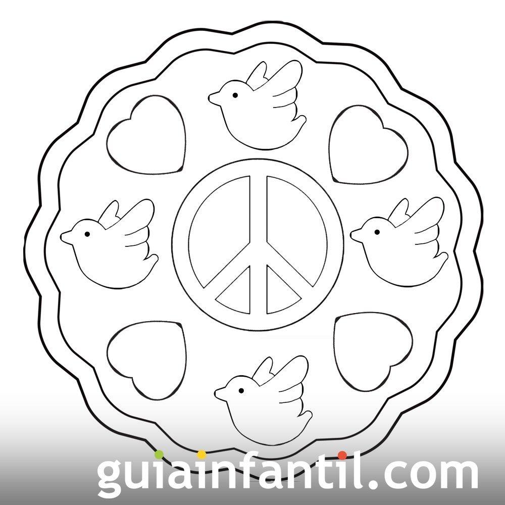 Dibujo de la paz con palomas y corazones