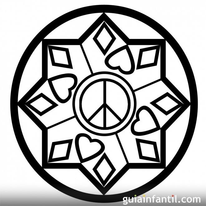 Dibujo con corazones y símbolo de la Paz - 10 Mandalas de la paz ...