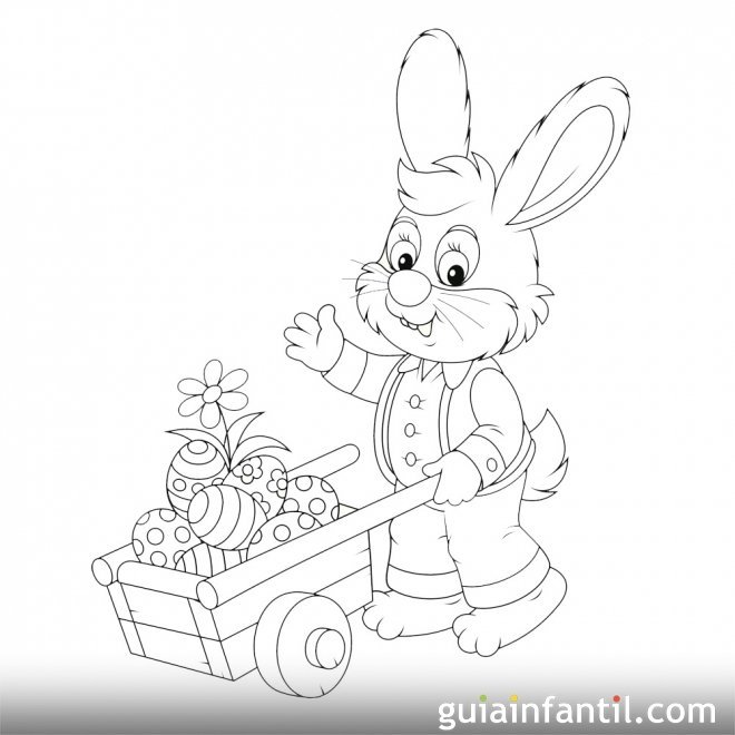 Conejo llevando huevos de Pascua en una carretilla