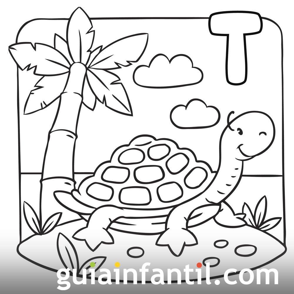 Tortuga en una isla tropical. Dibujo para colorear