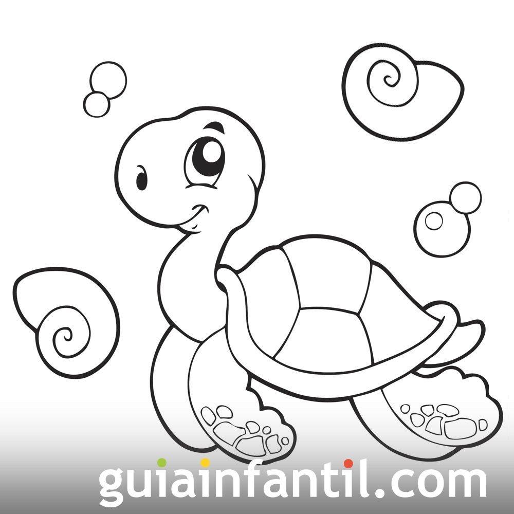 Tortuga Nadando En El Mar. Dibujo Para Pintar