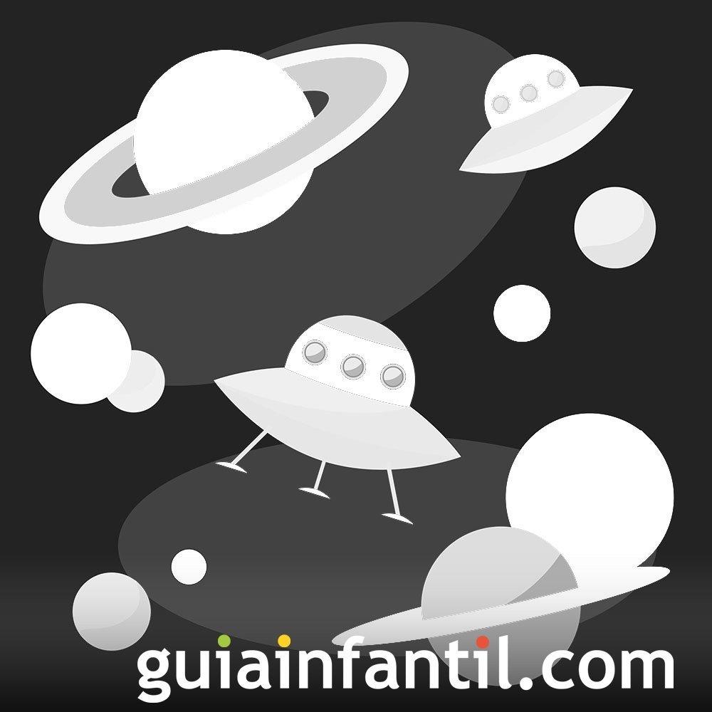Dibujos de ovnis y planetas para colorear