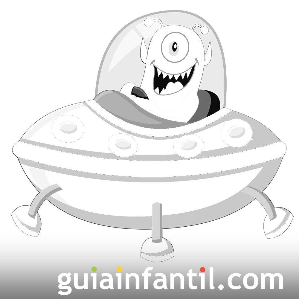 Dibujo de un platillo volante pilotado por un extraterrestre