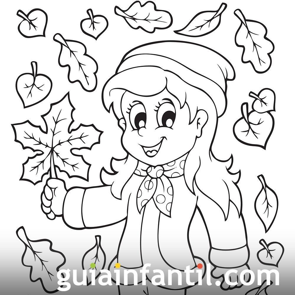 Dibujo de una niña en otoño para colorear