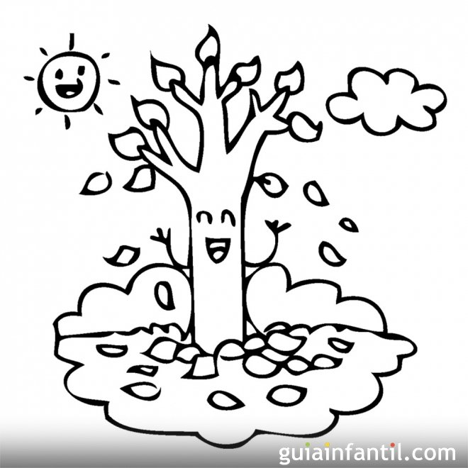 Dibujos Infantiles. Árbol En Otoño Para Colorear