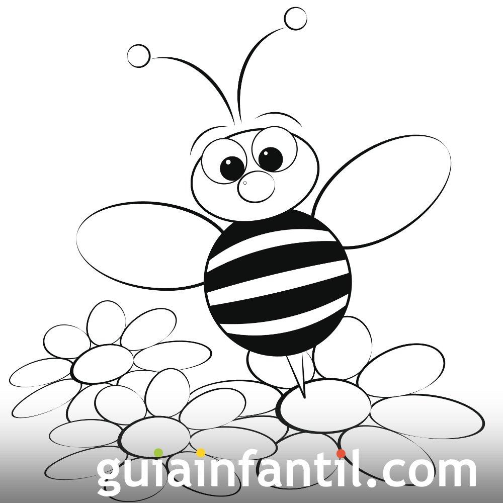 Dibujo de una abeja en primavera para colorear