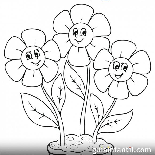 Dibujo de flores de primavera para colorear  Primavera Dibujos