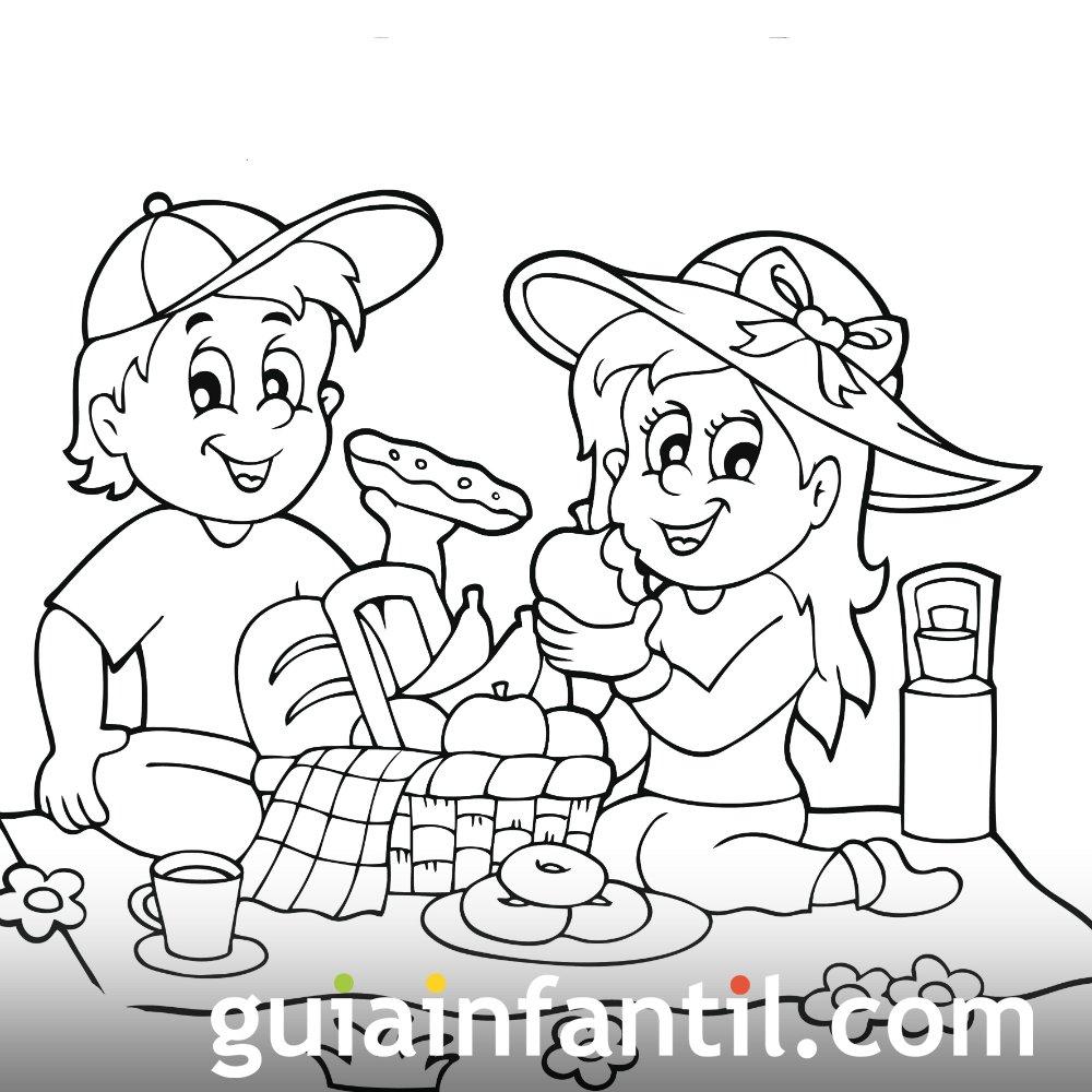 Dibujo Para Colorear De Dos Niños Comiendo En Primavera