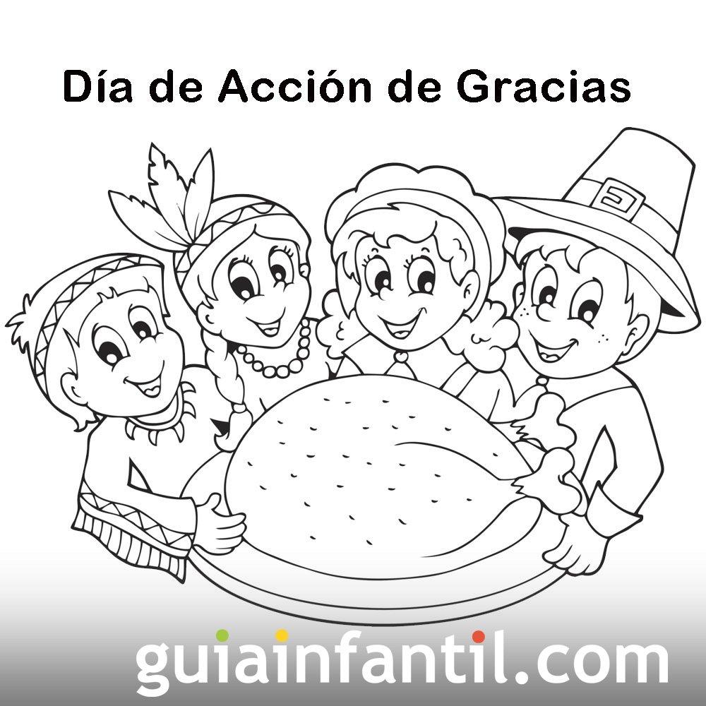 Thanksgiving 02 Dibujos Accion De Gracias Colorear En Ingles