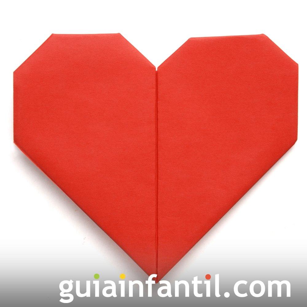 Manualidades con papel. Corazón de origami