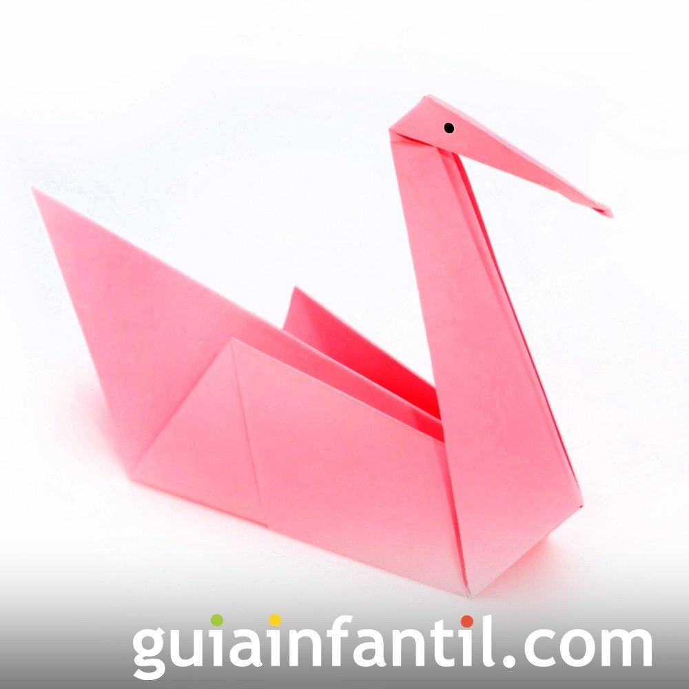 Cisne de origami. Manualidades infantiles con papel