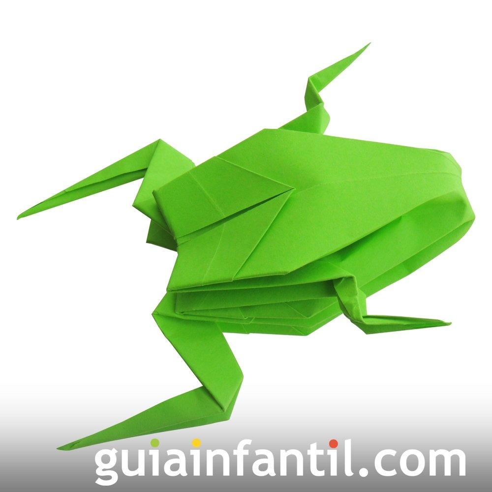 Rana de papel. Origami fácil para niños