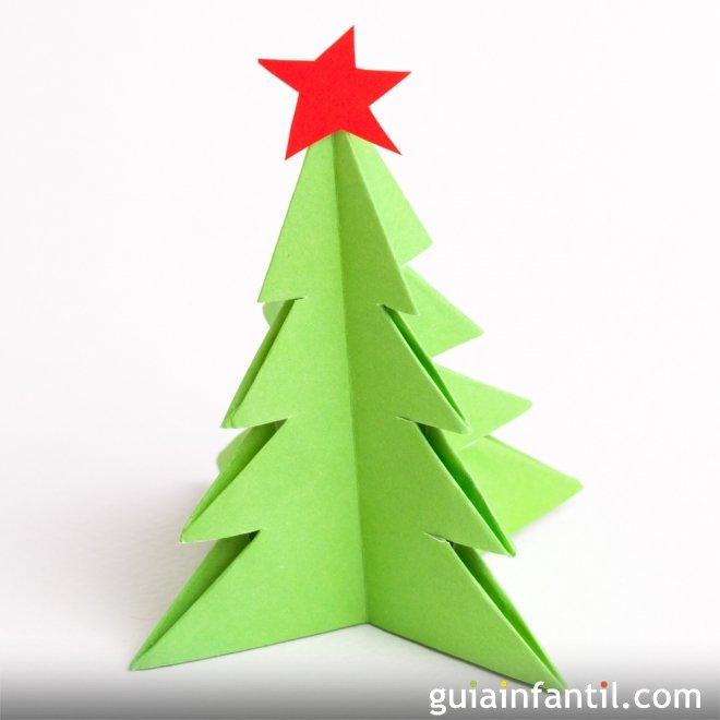 Manualidades de origami rbol de navidad de papel - Arbol de papel manualidades ...