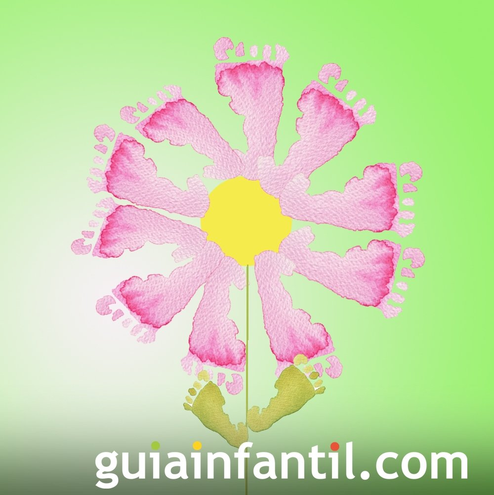 Pintar Una Flor Con Las Huellas De Los Pies