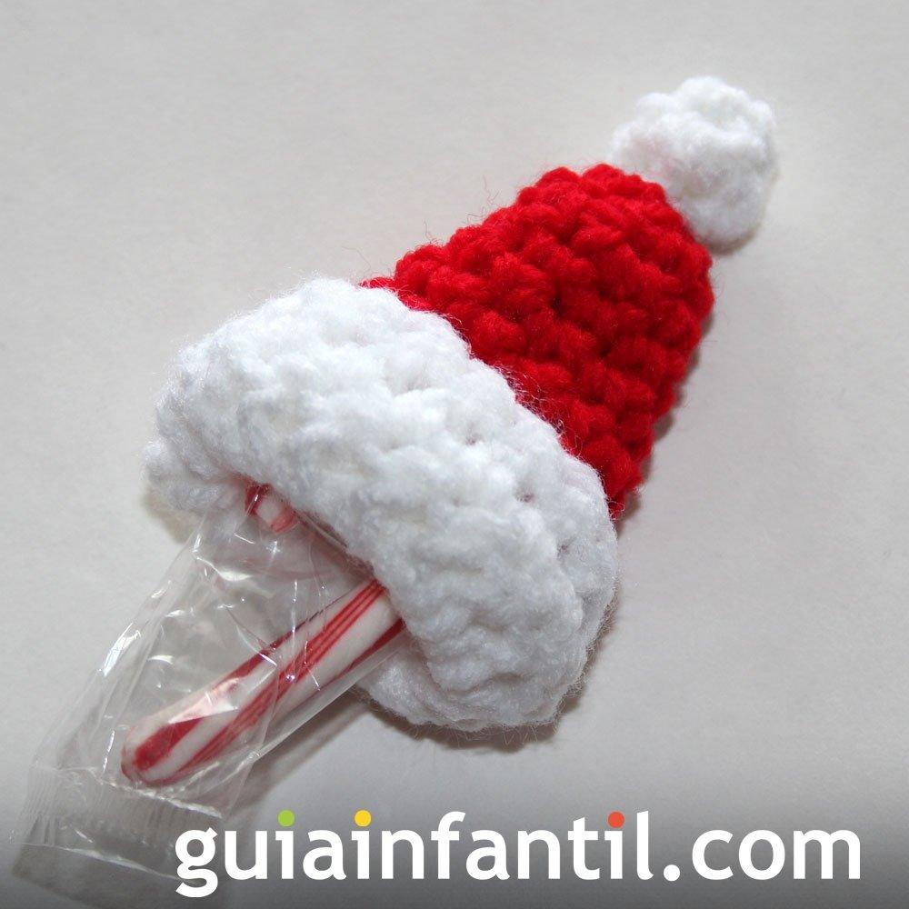 Sombrero o gorro de papá Noel en crochet