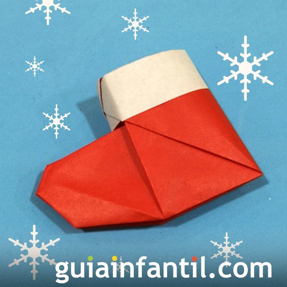 Una bota de papá Noel en origami