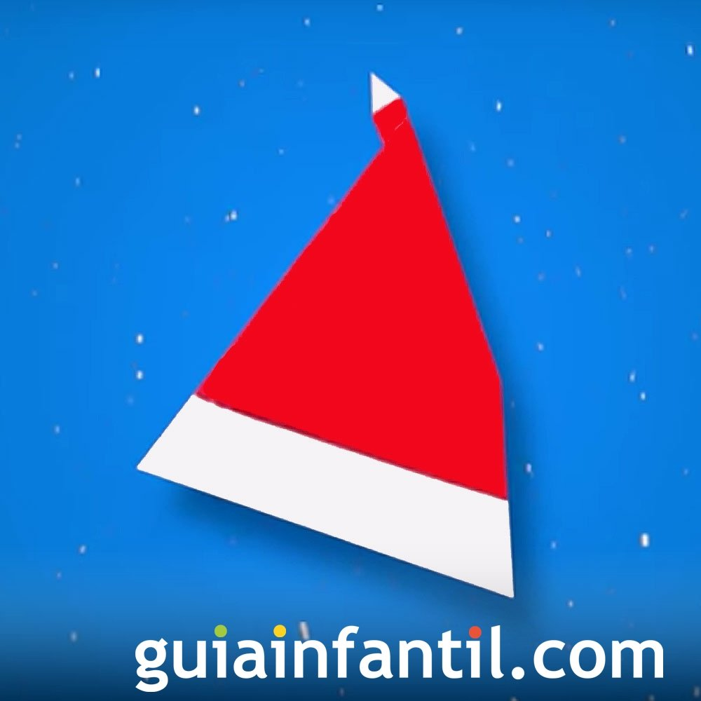 Gorro o sombrero de papá Noel en origami