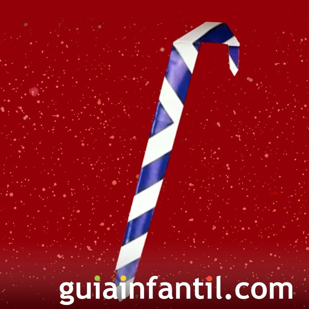 Bastón de caramelo navideño en origami