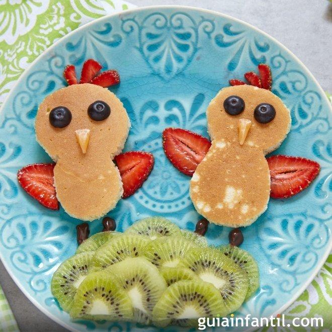 Tortitas o panqueques con forma de pollitos