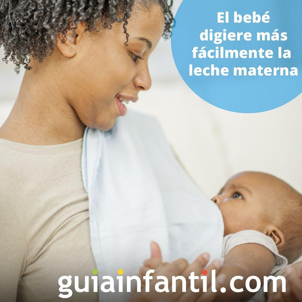 4. El bebé digiere más fácilmente la leche materna