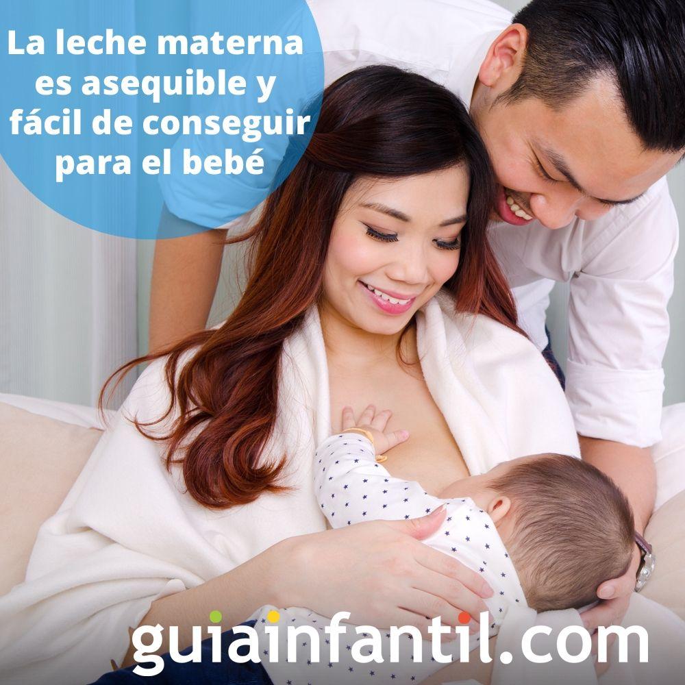 10. La leche materna es asequible y fácil de conseguir para el bebé